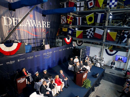 Virginia Gov. Terry McAuliffe speaks during keel laying ceremonies for the submarine USS Delaware, Saturday, April 30, 2016, at Newport News Shipbuilding.