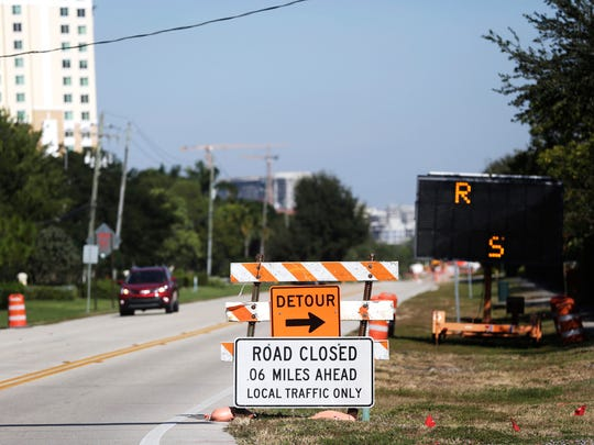Construction takes place in November 2016, closing Vanderbilt Drive for months between 111th Avenue and Wiggins Pass Road in North Naples.