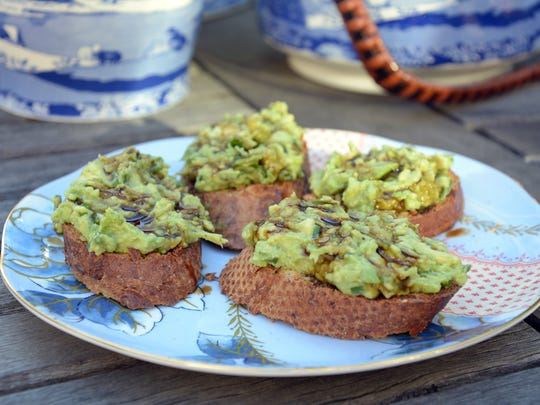 Avocado Bruschetta is flavored with a sweet balsamic