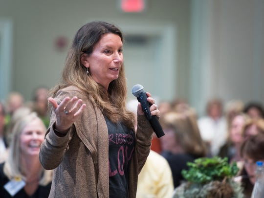 Becca Stevens, founder and president of Thistle Farms, speaks at a luncheon for Jasmine Road at Furman University on Thursday, October 26, 2017.