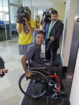"Abudullahi ""Abdi"" Mohamed, a teenage Somali refugee who was critically wounded by police during a fight outside a homeless shelter makes his first court appearance on robbery and drug charges Wednesday, Aug. 10, 2016, in Salt Lake City. Salt Lake County District Attorney Sim Gill said officers acted appropriately when they fired at Abudullahi ""Abdi"" Mohamed because police believed he was about to seriously injure or kill a man with a metal broom handle."