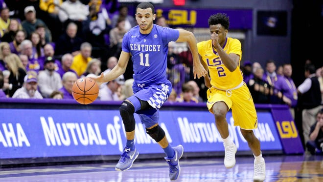 Jan 5, 2016; Baton Rouge, LA, USA; Kentucky Wildcats guard Mychal Mulder (11) drives past LSU Tigers guard Antonio Blakeney (2) during the second half of a game at the Pete Maravich Assembly Center. LSU defeated Kentucky 85-67.