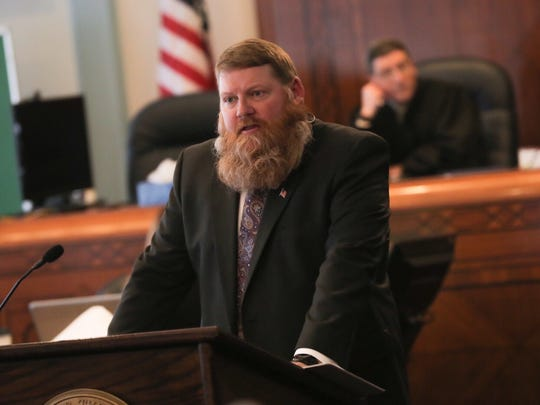 Ashland County prosecutor Chris Tunnell speaks during the fourth day of jury selection during the trial of Shawn Grate on Thursday, April 12.