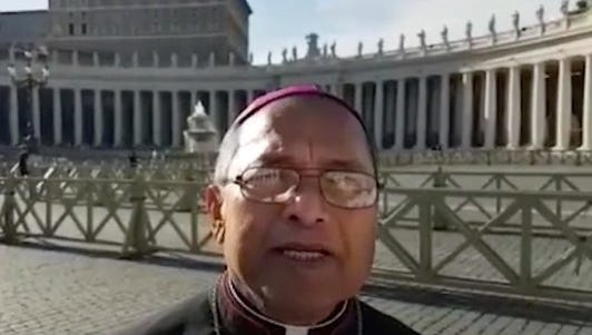 Archbishop Anthony Apuron is shown in this screenshot from a video released on June 7.