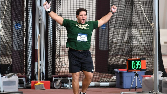 Mostafa Hassan, winner of the Nye Trophy as the outstanding male athlete at CSU for the 2016-17 school year, celebrates after winning the NCAA indoor title in the shot put March 10 in College Station, Texas.