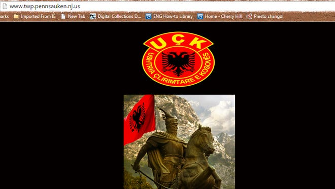Pennsauken's website was apparently hacked Monday as shown in this screen shot.