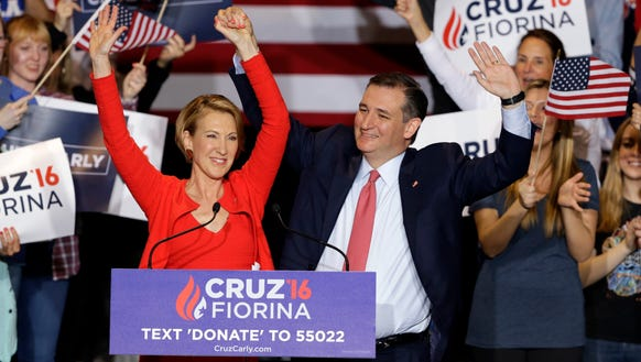 Sen. Ted Cruz is joined Carly Fiorina at a rally in