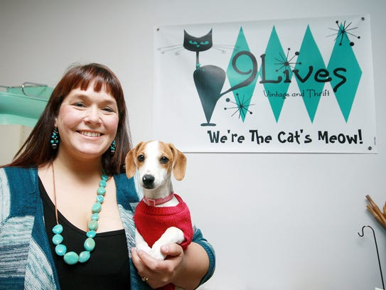 9 Lives Vintage and Thrift owner, Debbie White, with