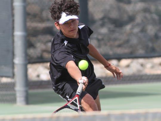 Eduardo Contreras of Desert Hot Springs plays tennis