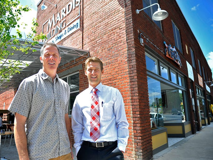 Russ Towers, left, and Austin Walker, owners of the Mardis Building at 444 Haywood Rd. in West Asheville. 8/13/14. Robert Bradley (rbradley@citizen-times.com)