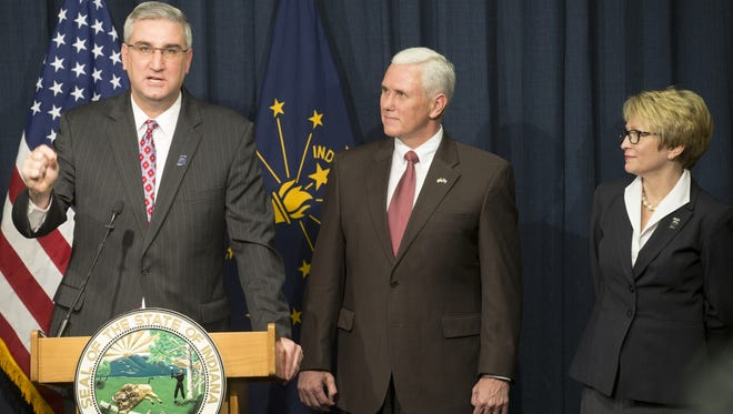 Eric Holcomb (left) is considered a top contender to replace Gov. Mike Pence as the Republican nominee for governor.