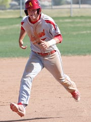 Palm Desert freshman Max Shor rounds third base during a recent win against Cathedral City. Shor and the Aztecs are the undefeated DVL champions.
