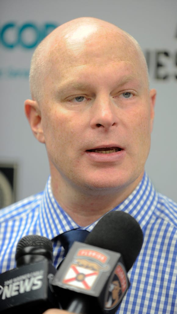 New Jersey Devils coach John Hynes talks about his team's 4-2 loss to the Florida Panthers in an NHL preseason hockey game, Saturday, Oct. 8, 2016, in West Point, N.Y.