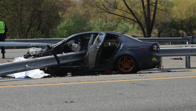 State police say two people were killed and three were injured when two cars collided on !-295 Sunday morning.