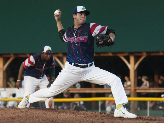 Vermont pitcher Brendan Butler (4) delivers a pitch during the baseball game between the Williamsport Crosscutters and the Vermont Lake Monsters at Centennial Field on Thursday night in Burlington.