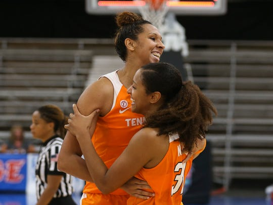 Seniors Mercedes Russell, left, and Jaime Nared celebrate