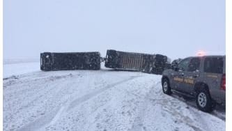 A semi rolled over on I-29 north of Vermillion on April 18, 2018