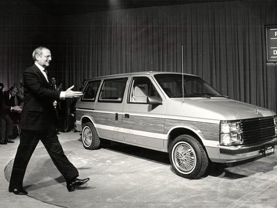 In November 1983, Lee A. Iacocca, then chairman of Chrysler Corporation, introduced the company's new breed of 1984 front-wheel-drive family wagons and vans, the Plymouth Voyager (pictured here), Dodge Caravan and Dodge Mini Ram Van.