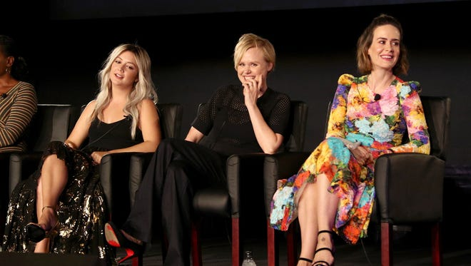 Actors Billie Lourd, Alison Pill, and Sarah Paulson of 'American Horror Story: Cult' speak onstage during the FX portion of the 2017 Summer Television Critics Association Press Tour at Fox Studios on August 9, 2017 in Los Angeles, California.