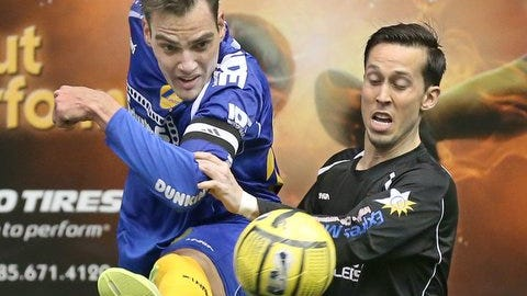 Rochester Lancers star Mauricio Salles, left, will play for Brazil in Monday night's WMF Arena World Cup match against Russia at Blue Cross Arena at the War Memorial.