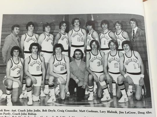 Rod Wood, front row, third from the left, played basketball for Goodrich in 1977-78.