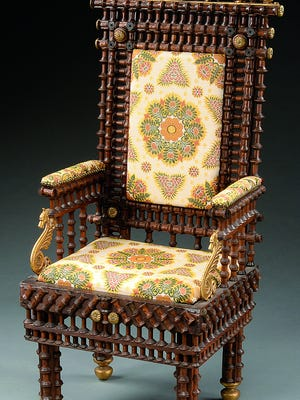 Is this chair art? Collectors answer that type of question every time they go antiquing. Clever, unfamiliar designs are becoming more desirable and more expensive. This folk-art chair of no special design period sold for $968.