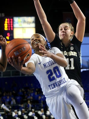 MTSU's Ty Petty (20) goes up for a shot as Wake Forest's