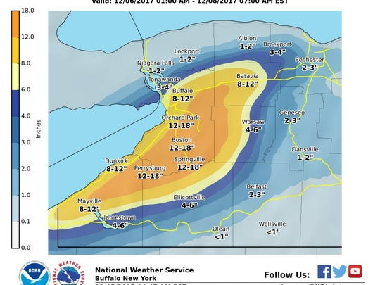 Possible snowfall from Wednesday, Dec.. 6, through Thursday, Dec. 7, night.