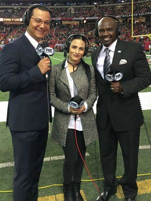 Former Tennessee State safety Randy Fuller, right, was a guest at the NFC Championship game between Atlanta and Green Bay on Fox Sports Latin America with Ricardo  Ochoa and Valeria Marín.