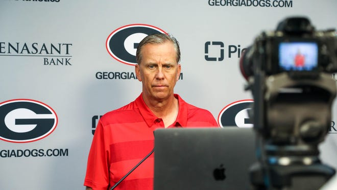 Georgia offensive coordinator and quarterbacks coach Todd Monken during a press conference via Zoom in Athens on Tuesday, Aug. 25, 2020.