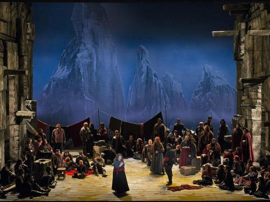 """Jamie Barton, as the Gypsy Azucena, riveted as she told her story in the gypsy encampment, in Cincinnati Opera's """"Il Trovatore"""""""