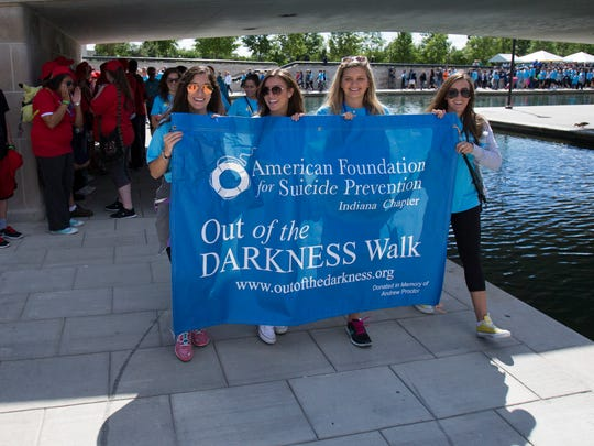 File photo of the Out of the Darkness walk at Indianapolis's White River State Park in 2014.