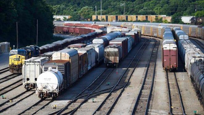 Trains wait in Radnor Yard in Nashville on June 29, 2016.