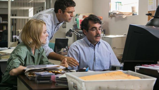Rachel McAdams, Mark Ruffalo and Brian d'Arcy James in 'Spotlight.'