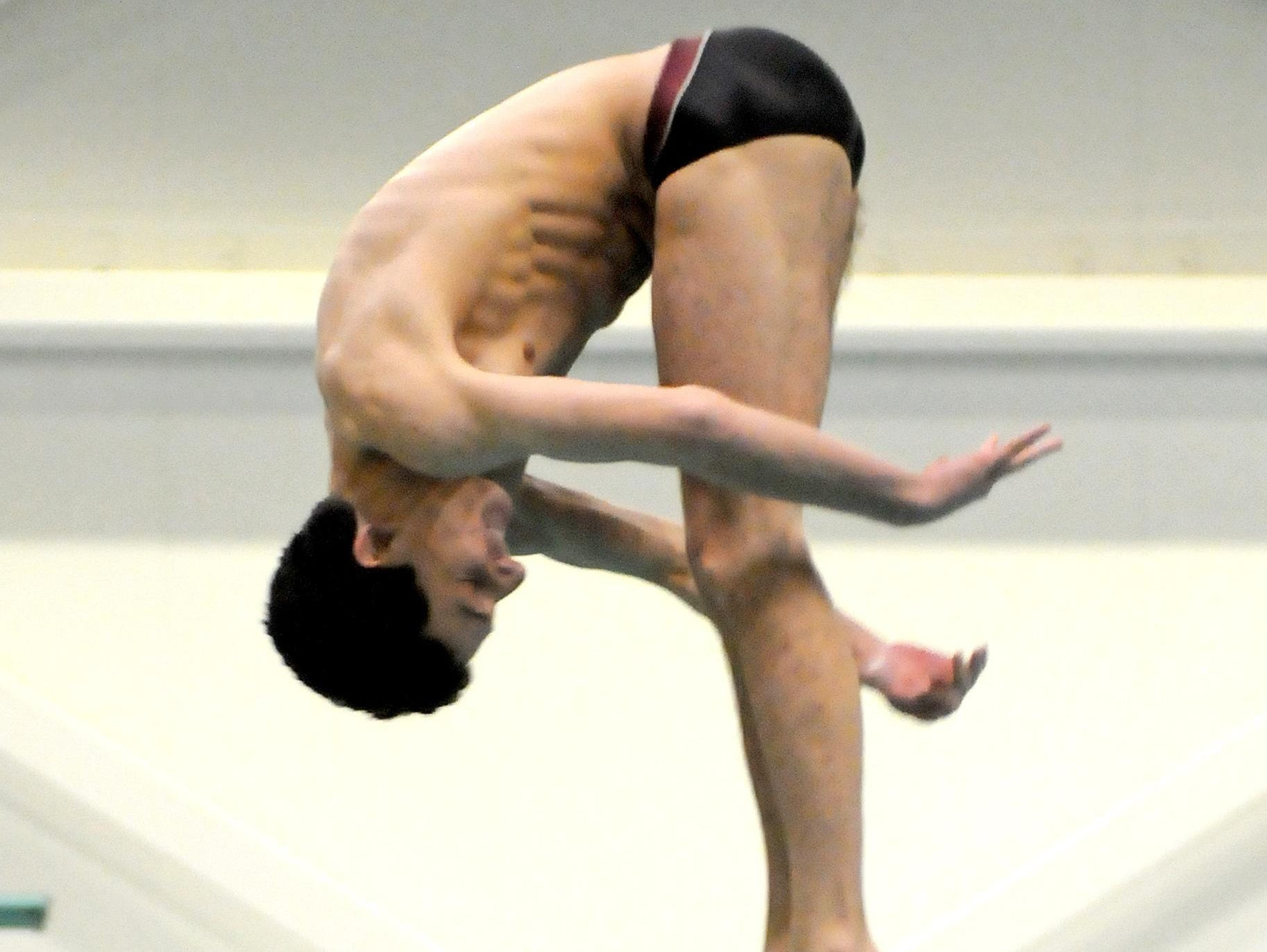 Ossining's Alec DeCaprio competes in diving during the state swim meet at Erie Community College's Flickinger Center in Buffalo on Friday, March 4, 2016.