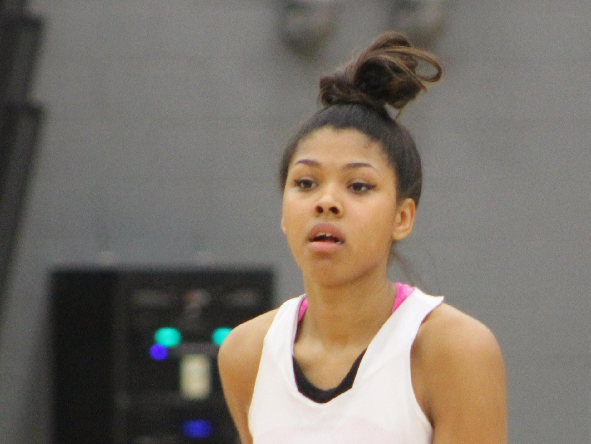 Junior Victorie Franklin, in her second varsity season, is a strong all-around player for the Black Hawks who can shoot, rebound and run the floor.