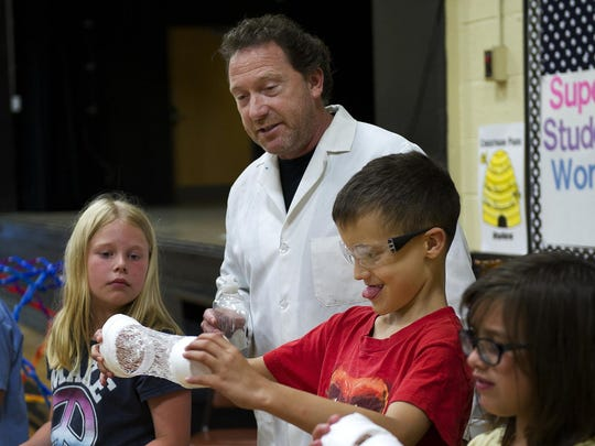 Keith Trehy, Mr. Bond the Science Guy, shows his young