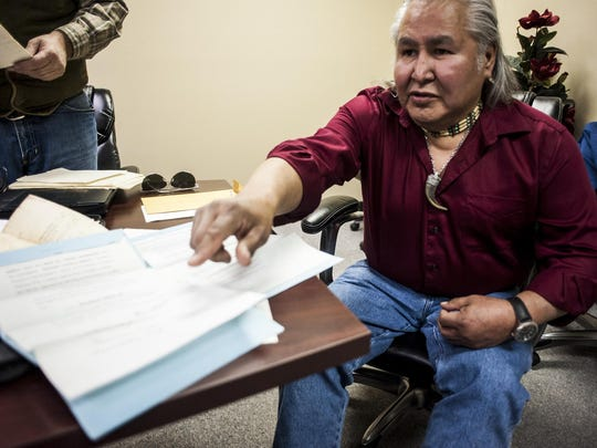 Bill Sitting Chief points to documents a few years ago that he planned to use to help the Little Shell Tribe gain federal recognition. President Trump is accepted to sign today to give the tribe its long awaited federal recognition.