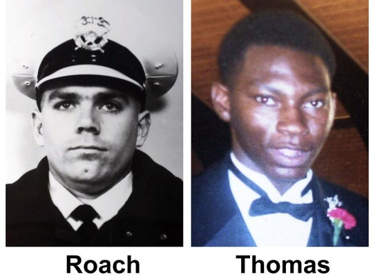 LEFT: Cincinnati police officer Steve Roach, shown in a 1997 file photo. RIGHT: Timothy Thomas, shown in an undated family photo.