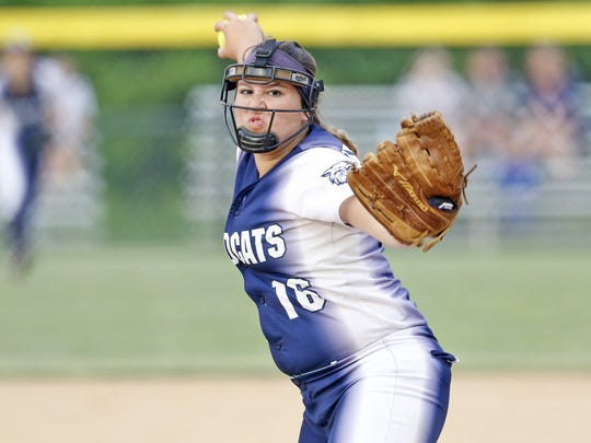 Dallastown's Jaelynn Harbold pitched a strong game against Lower Dauphin during the Class AAAA third place softball game at Millersville University in Millersville, PA on June 2, 2016.