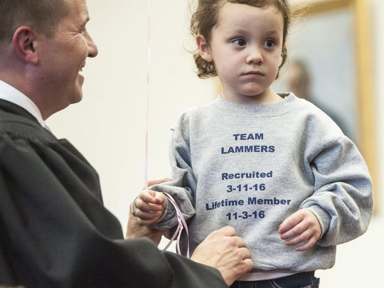 Lillee Lammers shows off her Team Lammers sweatshirt