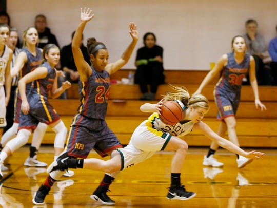 McCutcheon's Alanah Owens is whistled for fouling Emma