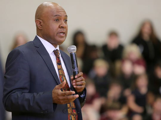 Jackson City Court Clerk Daryl Hubbard tells Rose Hill School students that they have each one duty in addition to getting an education: 'Keep the tears out of your mother's eyes.' He spoke Monday at the 'Living the Dream' African-American History Program.