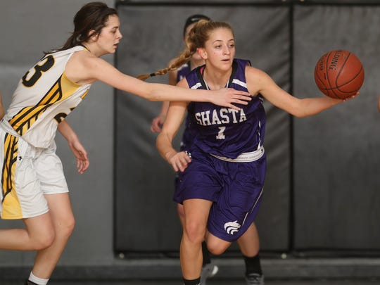 Shasta's Jamie Heller dribbles past Enterprise's Aly Burke in their NSCIF D-III semifinal Tuesday night. Shasta won 48-43.