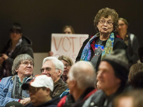 Former Montana Sen. Carol Juneau asks Rob Quist a question during his rally at Great Falls College MSU on Thursday.