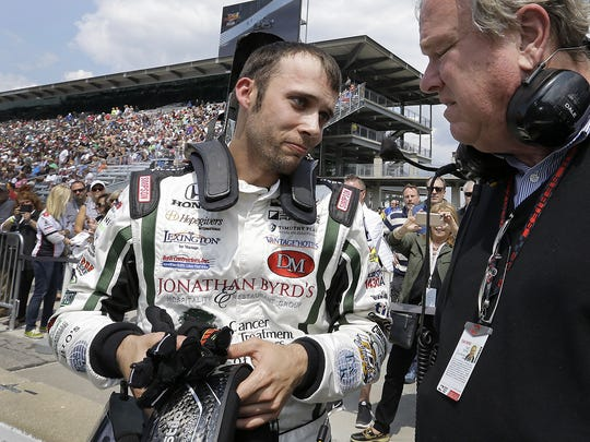 IndyCar driver Bryan Clauson (88) talks with team owner Dale Coyne following his qualifying run for the 100th running of the Indianapolis 500 Saturday, May 21, 2016, morning at the Indianapolis Motor Speedway.