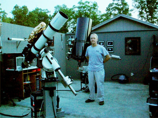 Mark Manner in 2010 in Hickman County in Tennessee at the Spot Observatory, which Manner built in 2004.