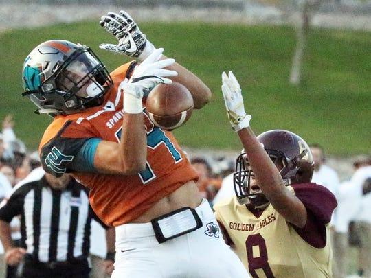 Pebble Hills wide receiver Haredt Gonzalez, 14, does