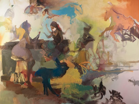 "Julia Martin, ""Hypnagogic,"" 2017, oil on canvas, 48x36""."