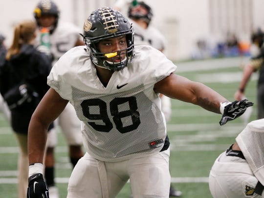Defensive end Kai Higgins during Purdue spring football practice.